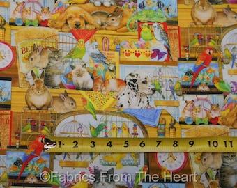 Chats chiens chiots oiseaux lapins moustaches & queues de tissu Robert Kaufman verges