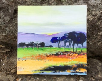 Australian landscape, original painting, high country, Acrylic painting on board, FREE SHIPPING