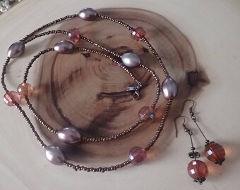 Mauve & Bronze Beaded Necklace Set