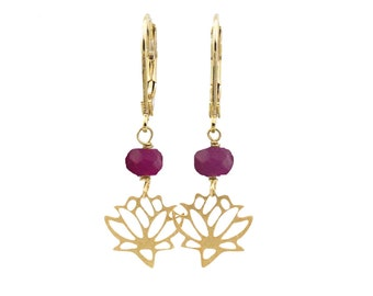 Lotus Earrings, Genuine Ruby Earrings, Lotus Flower Earrings, Ruby Gemstone Earrings, July Birthstone