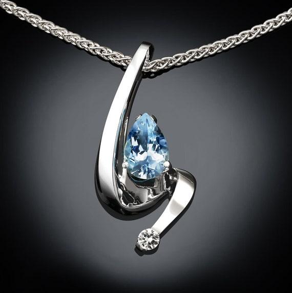 aquamarine necklace, aquamarine pendant, March birthstone, anniversary gift, white sapphire, wedding necklace, fine jewelry - 3380