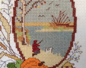 Set of cross stitch pictures completed and framed of the four seasons, framed needlework, embroidery pictures, vintage cross stitch finished