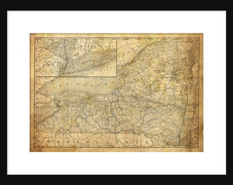 New York State Map Vintage Print Poster Grunge