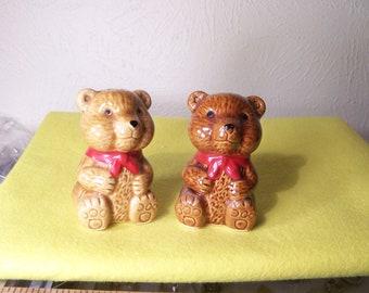 Vintage Teddy Bear Salt and Pepper Shakers