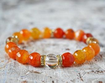 Agate orange et montagne Bracelet en cristal, Bracelet Pierre pour femme, Bracelet en pierres naturelles, Bracelet Chakra