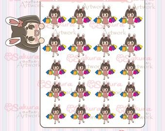 B008 - Bunbun Bunny Girl Shopping Decorative Stickers Planner Stickers