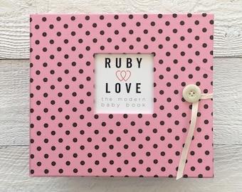 BABY BOOK | Pink & Brown Baby Dot Album