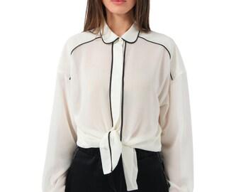 White chiffon shirt