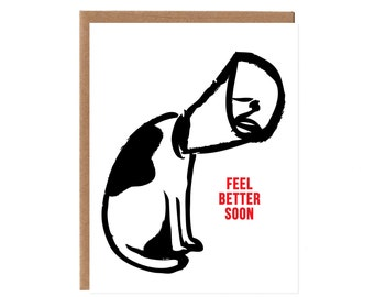 Feel Better Soon -- Dog With a Cone Card