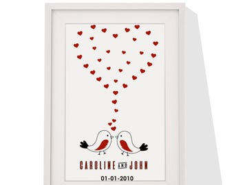 Wedding Anniversary Personalised Gift - Framed Print With Mount - Love Bird Heart Design - 12 x 10 Inch