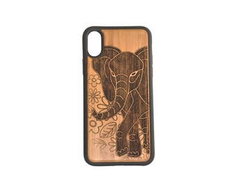 Elephant iPhone Case Cover for iPhone X by iMakeTheCase Bamboo Wood+TPU Wrapped Edges African Asian Spirit Animal Totem Floral Enlightenment