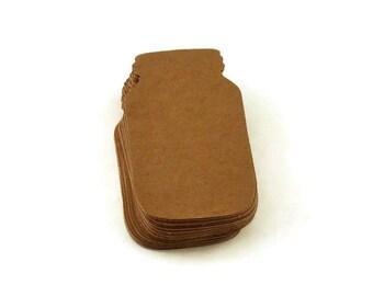 50 Mason Jar Shaped Paper Die Cuts  in Kraft