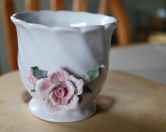 Porcelain 3D Floral Decorative or Bud Vase