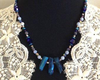 BLUE IRIS CRYSTAL necklace #111