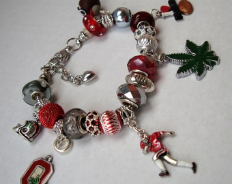 Ohio Football Theme European hand painted charms Murano beads bracelet leaf helmet Mascot player You pick size Help save a cat/kitten