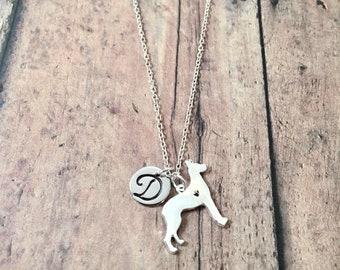 Doberman Pinscher initial necklace - Doberman jewelry, guard dog necklace, Dobie jewelry, silver Doberman pendant, dog breed jewelry