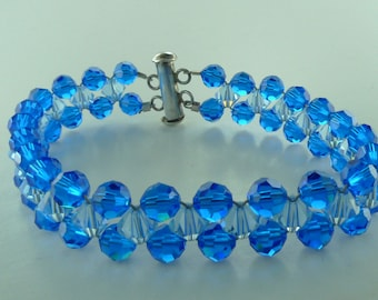 Swarovski Crystal Woven Bracelet Sterling Silver - Blues