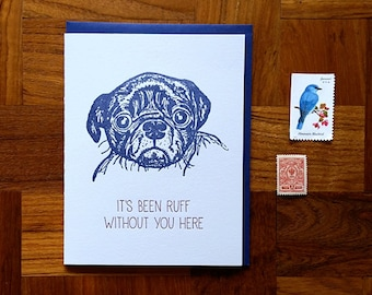 It's Been Ruff, Letterpress Note Card, Blank Inside