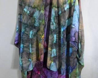 "Silk Ruana Cape ""Cloudy Rainbow"", Hand Painted Silk Jacket, Rainbow Silk Jacket"