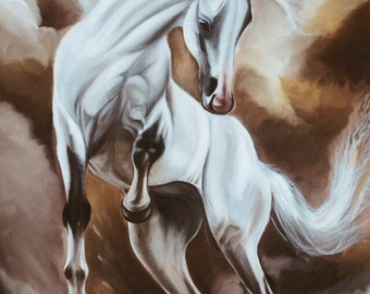 White horse oil painting 30x48in