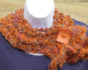 SALE - Funky Fun Scarflette - orange and multi color - by Happy Campers of the South (SCRF020)