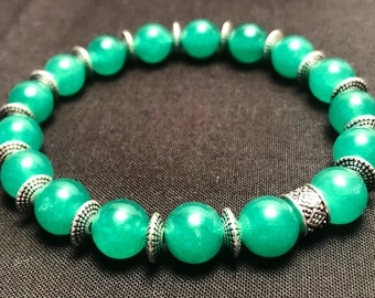 Jade Glass in 10mm Beads w/ Antique Silver details