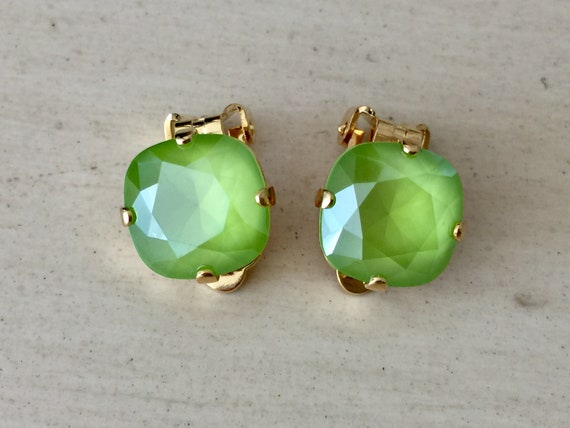 Lime Lacquer Swarovski Crystal Clip On Earrings, Yellow Gold