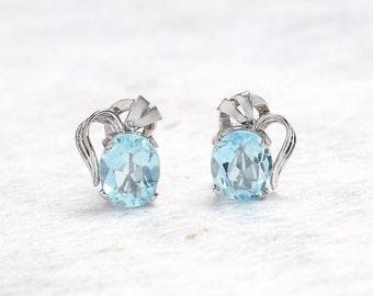 Aquamarine Earrings | Gold Aquamarine Clip On Stud Earrings | Antique Earrings | Antique Jewelry | Antique Jewellery | Vintage Earrings