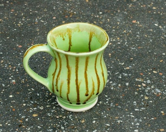 12 oz Mug, Lime Green - Etched Stripes - red brown over lime green - High Fire stone ware