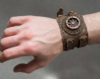 Rusted Dystopian Bracelet - Steampunk Post Apocalyptic Leather Cuff - Industrial Men's Leather Bracelet