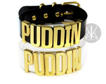 Authentic Harley Quinn PUDDIN Choker Replica | Cosplay | Suicide Squad Movie | Halloween Costume | Harley Quinn Choker | BIG Letters - Gold
