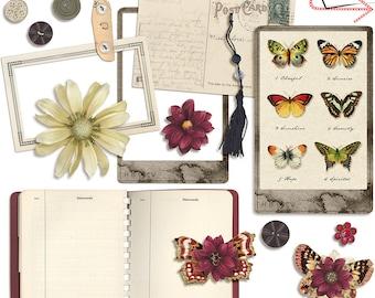 Vintage Ephemera, Collage Sheet, Printable, Png, INSTANT DOWNLOAD, CU, Mixed Media, Art Journaling, Papercraft, Scrapbook, Card Making,