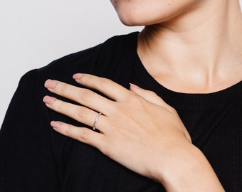 Thin Meteorite Ring, Sterling Silver, 925, Hammered Ring, Skinny Ring, Stacking Ring, UK Design, Handmade Jewellery