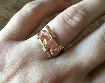 Rose pink crystal ring