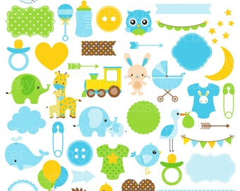 Baby Boy Clipart Set - digital elements - frames, borders, dummy, buttons, bottle - personal use, small commercial use, instant download