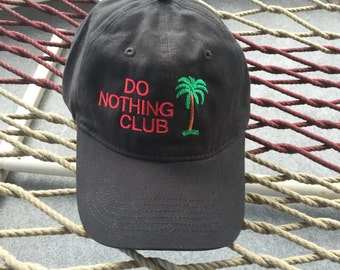 Do Nothing Club - Black Hat With Red Letters