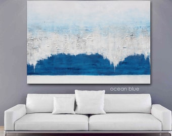 Very Large Blue Modern Abstract Original Art Painting Sofa Couch Living Room Wall Hanging Bedroom Textured Silver White Metallic Big Canvas
