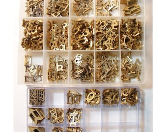 """Vintage Brass Sign Letters, Directory, Marquee,Lot of 411 pc. (373 letters, 204 numbers, 24 Arrows, 8 """"The"""" and 6 & Ampersand)"""