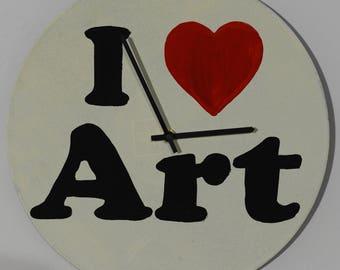 I love art, vinyl record, painting, handmade, wall clock, art decoration, art deco, deco