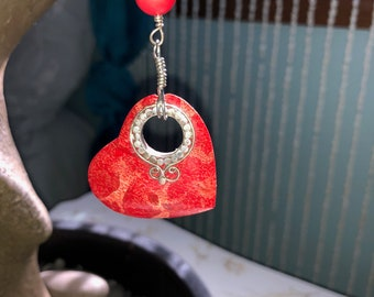 Red Coral Heart Car Charm/Suncatcher