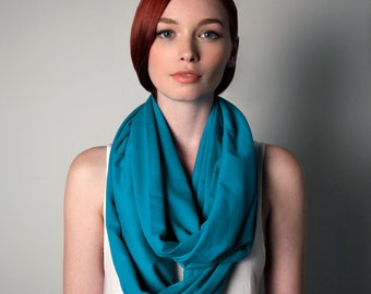 Blue Scarf, Infinity Scarf, Sister Gift, Teal Scarf, Mom Gift, Chunky Blue Scarf, Teal Blue Scarf, Large Blue Scarf, Blue Scarf Jersey
