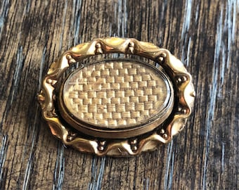 c.1850 Victorian mourning brooch woven hair locket gold filled swivel