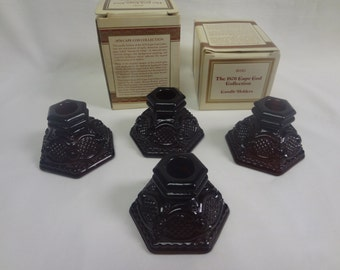 Four Vintage Avon 1876 Cape Cod Ruby Red Candle Holders