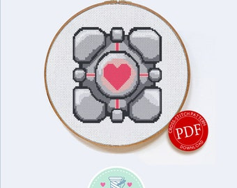 Companion Cube   Digital Download   Geek Cross Stitch Pattern   Portal Pattern