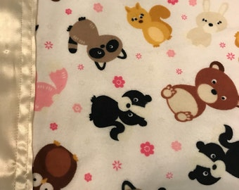 Woodland animal silkie baby blanket