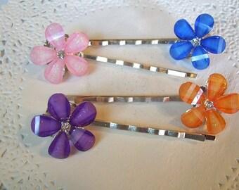 Flower Hair Pin (367) - Rhinestone hair pin - Jeweled Hair Pin - Pink flower hair pin - blue hair pin - purple hair pin - blue hair pin