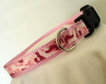 Pink Camouflage - Dog Collar - Small Dog Collar - 5/8 Inch Wide - Adjustable 9-13 Inches - Camouflage - Girly Dog Collar - READY TO SHIP