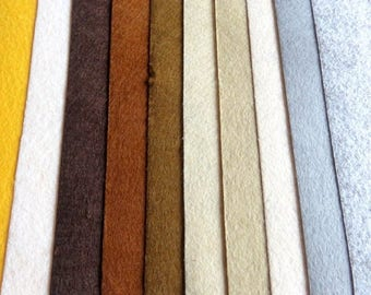 Gray Brown felt 10 colors