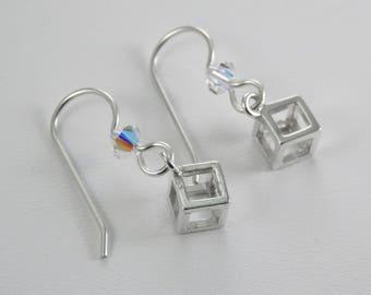 Petite Sterling Silver Cube Earrings. Cube Dangle Earrings. Sterling Silver Earrings. Minimalist. Petite Dangle Earrings.