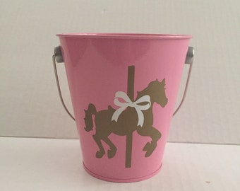 5 Carousel party  tin pail candy table/ dessert table/ centerpieces